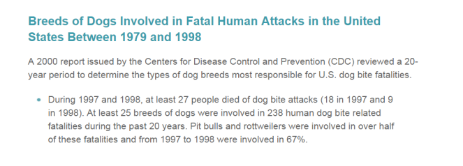 breeds of dogs involved in fatalities from dbo