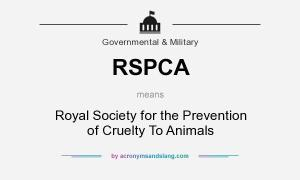 RSPCA means - Royal Society for the Prevention of Cruelty To Animals