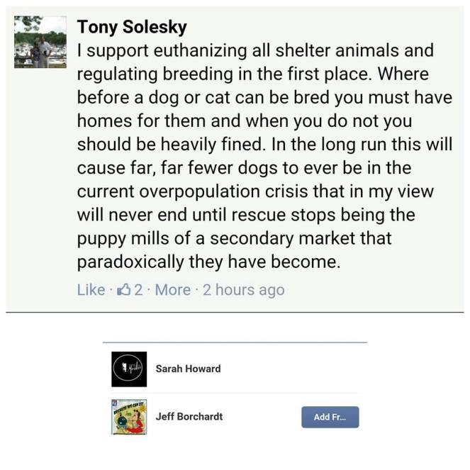 tony solesky kill all shelter animals